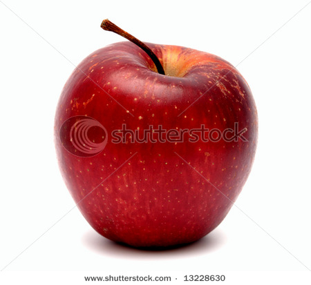 Фотография красного яблока на белом фоне