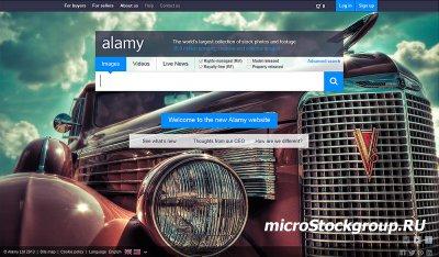 Новый дизайн сайта фотобанка Alamy (стартовая страница)