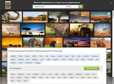 Расширение функции кейвордирования в фотобанке (микростоке) Shutterstock